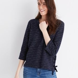 Madewell Nautical Striped Lace-Up Top Navy White L